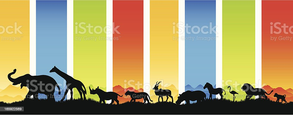 Many animals migrate in silhouette vector art illustration