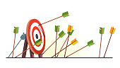 Many arrows missed hitting target mark. Shot miss. Multiple failed inaccurate attempts to hit archery target. Business challenge failure metaphor. Flat style cartoon isolated vector object illustration