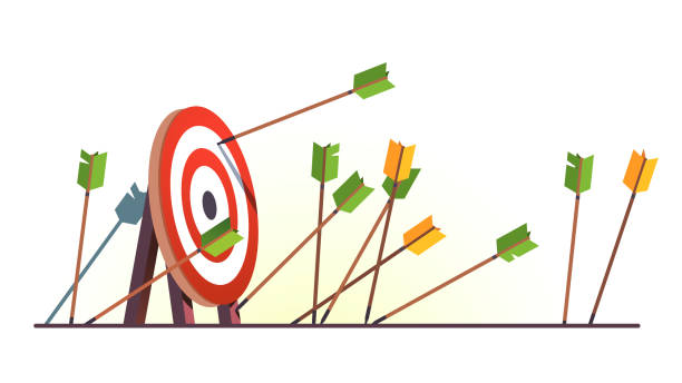 Many arrows missed hitting target mark. Shot miss. Multiple failed inaccurate attempts to hit archery target. Business challenge failure metaphor. Flat vector illustration Many arrows missed hitting target mark. Shot miss. Multiple failed inaccurate attempts to hit archery target. Business challenge failure metaphor. Flat style cartoon isolated vector object illustration failure stock illustrations