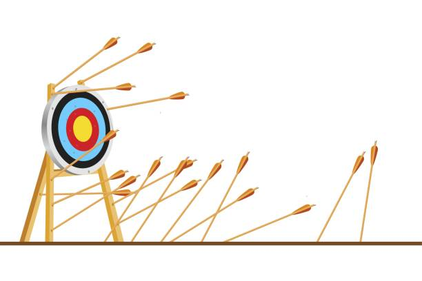 Many arrows missed hitting target mark. Shot miss. Multiple failed inaccurate attempts to hit archery target. Business challenge failure metaphor. Flat cartoon isolated vector object illustration Many arrows missed hitting target mark. Shot miss. Multiple failed inaccurate attempts to hit archery target. Business challenge failure metaphor. Flat cartoon isolated vector object illustration practicing stock illustrations