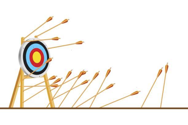 stockillustraties, clipart, cartoons en iconen met veel pijlen gemist raken doel mark. shot miss. meerdere mislukte onjuiste pogingen om boogschieten doel te raken. business challenge falen metafoor. platte cartoon geïsoleerd vectorobject illustratie - mislukking