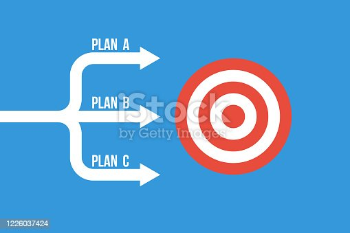 istock many arrows moving to one goal, different plans vector concept 1226037424