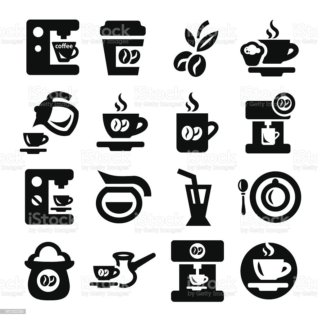 Many black and white coffee icons on a white background royalty-free stock vector art