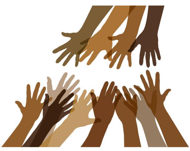 Many black helping hands illustration vector art illustration