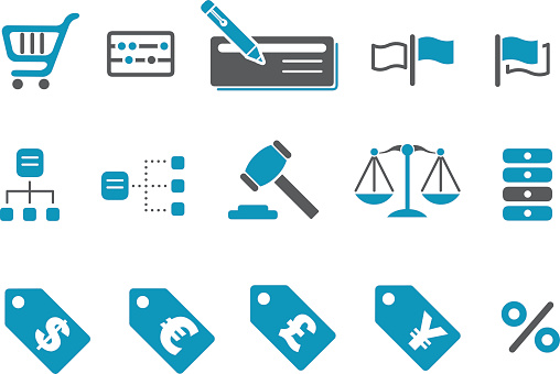 Many blue and black pictures representing a money icon set