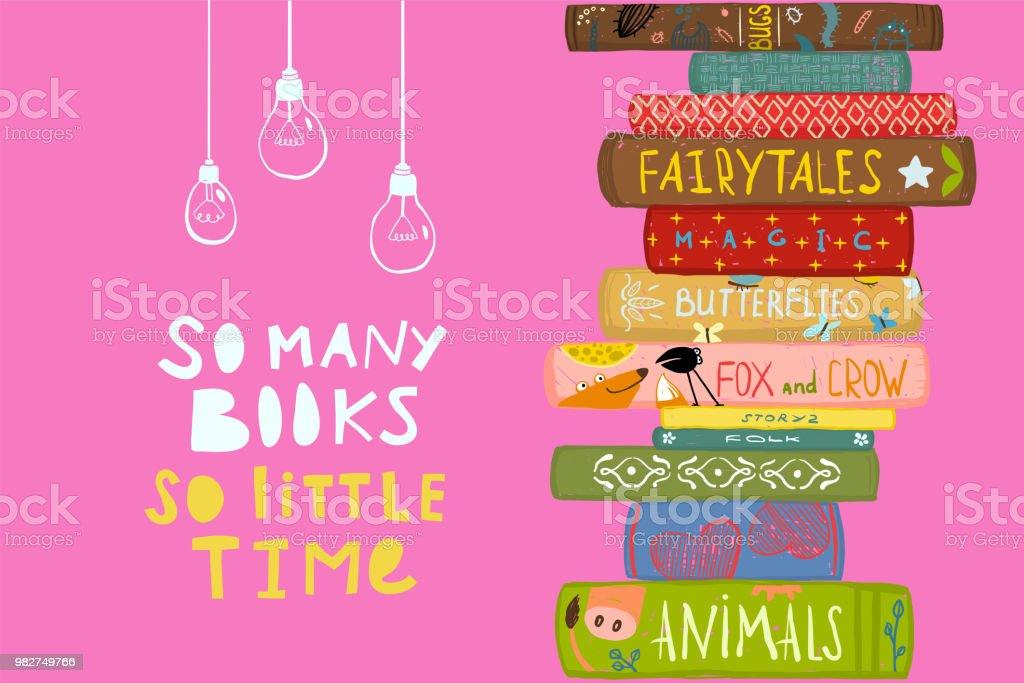 Viele Bücher Wenig Zeit Zitat Design Stock Vektor Art Und
