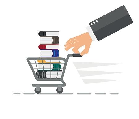 Many books on shopping cart. Vector illustration.