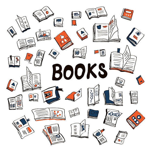 Many books sketchy background - illustration Many books sketchy background - vector illustration book drawings stock illustrations
