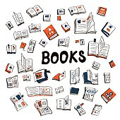 Many books sketchy background - illustration