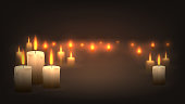 Wallpapers with candles in the dark, many burning candles, mourning mood, religion, romance