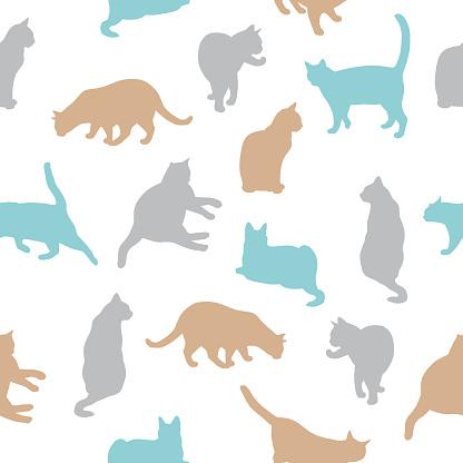Many Cats Seamless Pattern
