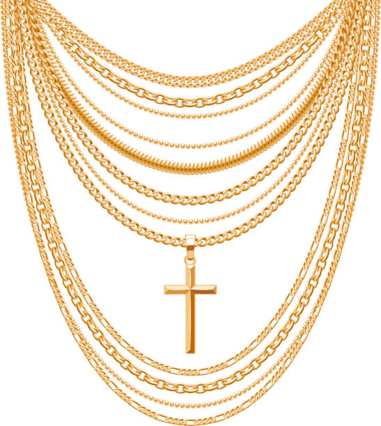 viele ketten goldenes metallic-halskette - kreuzkette stock-grafiken, -clipart, -cartoons und -symbole