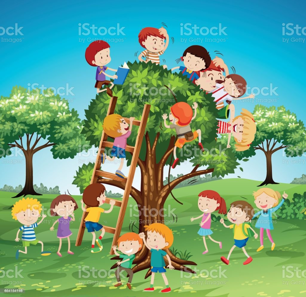 Many children climbing up the tree vector art illustration