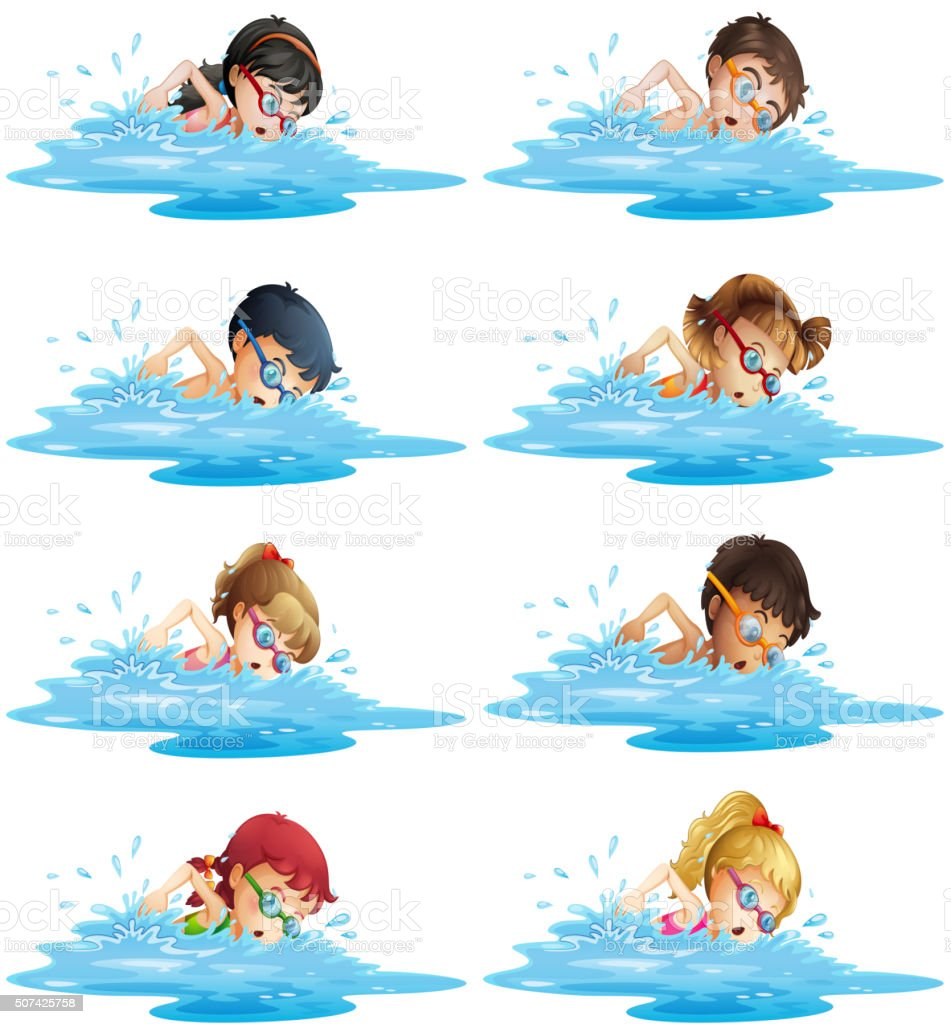Many children swimming in the pool vector art illustration