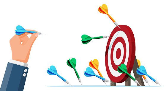 Many darts missed target mark. Multiple failed inaccurate attempts arrows to hit target. Business challenge failure, shot miss, failed achievement or goal. Flat vector illustration