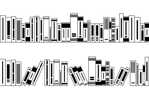 Many different black and white books, seamless borders for design Many different black and white books, seamless borders for design and decorating, school and library background, concept of knowledge, education and information book borders stock illustrations