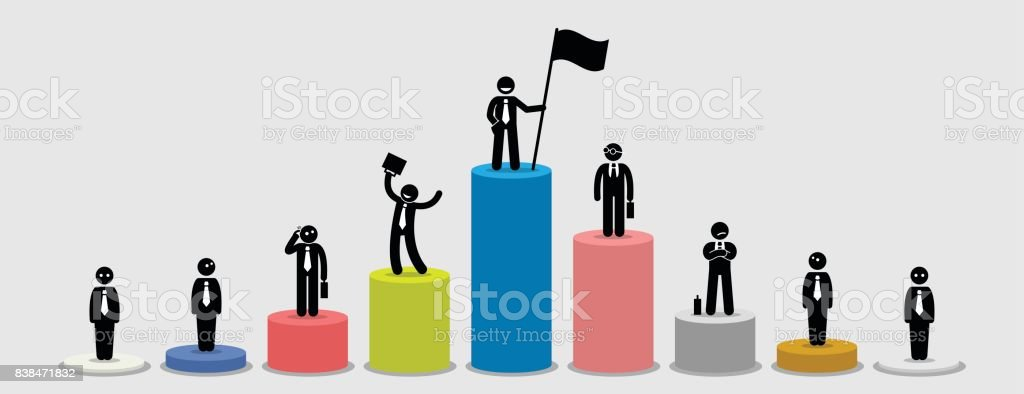 Many different businessman standing on bar charts comparing their financial status. vector art illustration