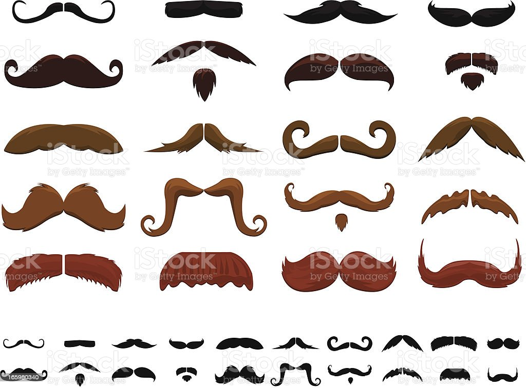 Many different colored mustaches royalty-free stock vector art