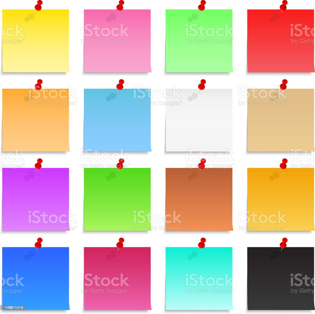 Many different colors of Post-It Notes vector art illustration