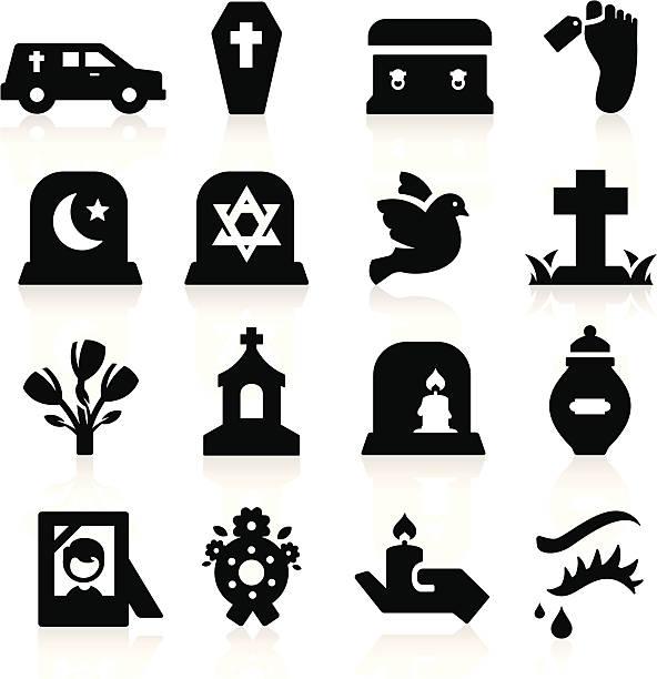 stockillustraties, clipart, cartoons en iconen met many different funeral computer icons - funeral crying