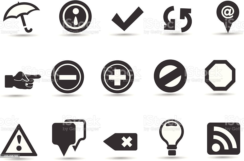 Many different icons and web buttons vector art illustration