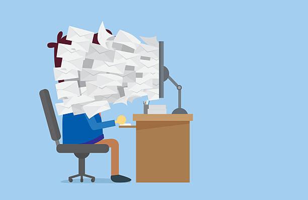 bildbanksillustrationer, clip art samt tecknat material och ikoner med many e-mail out of computer screen to worker face - stor grupp av objekt