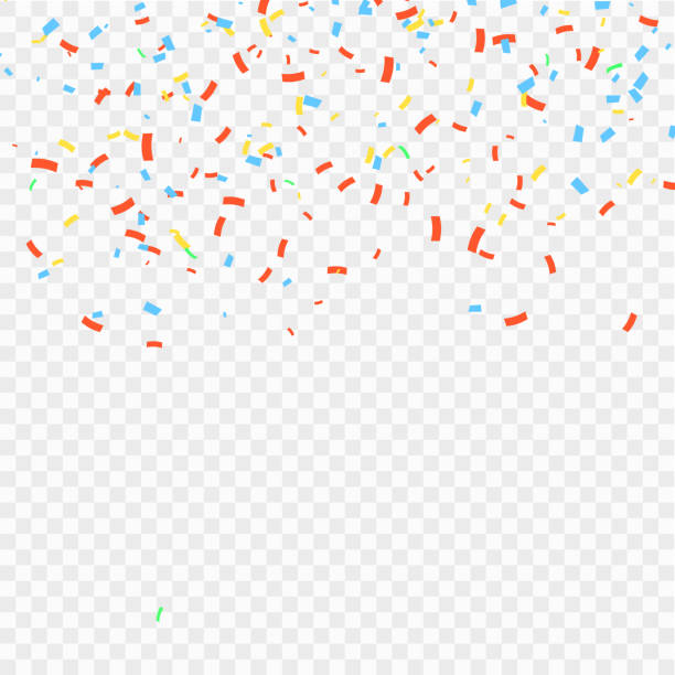 many falling colorful confetti and ribbon isolated. vector - confetti stock illustrations