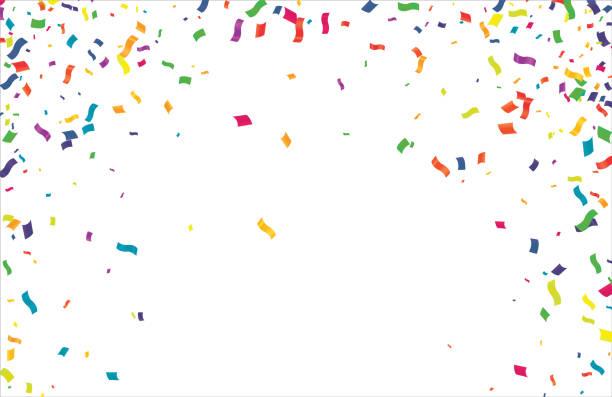 stockillustraties, clipart, cartoons en iconen met vele vallende kleurrijke uiterst en kleine confetti die op transparante achtergrond worden geïsoleerd - confetti