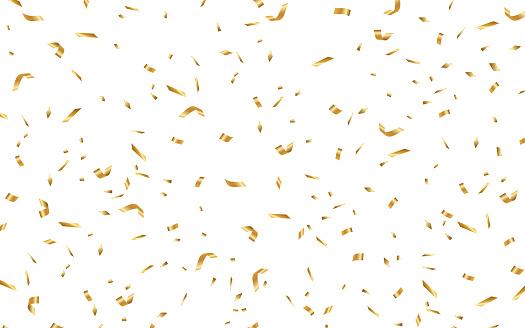 Many Falling Gold Confetti