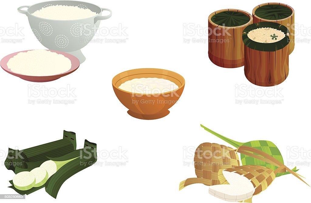 Many Forms of Cooked Rice in Indonesia vector art illustration