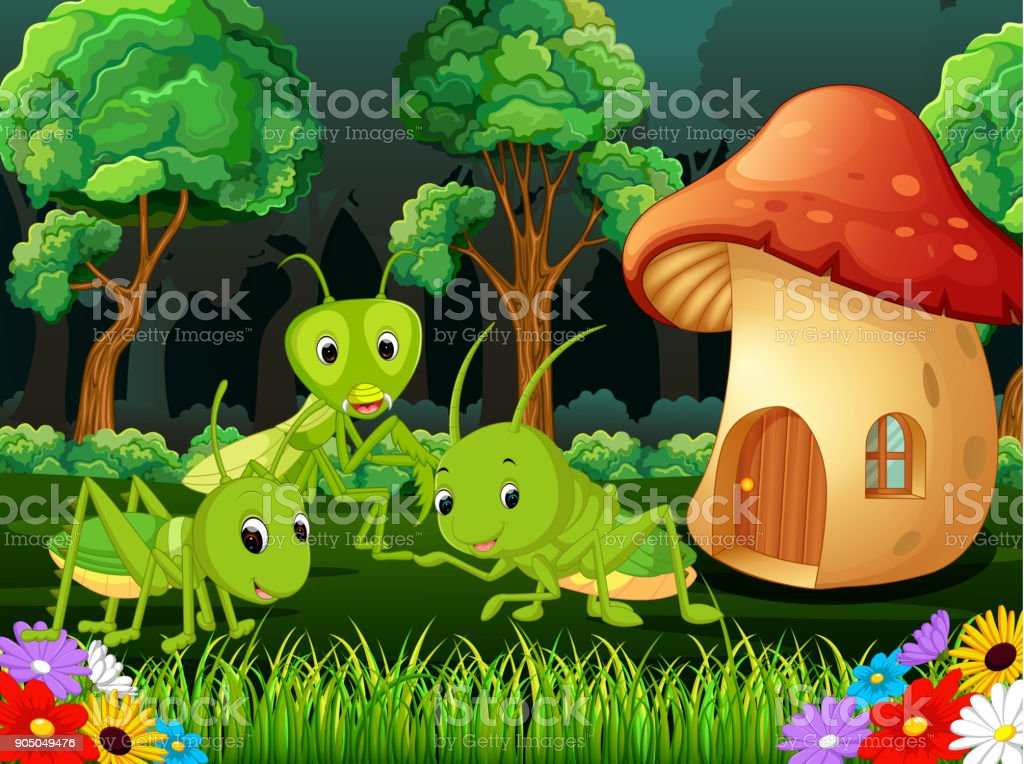 many grasshopper and a mushroom house in forest vector art illustration