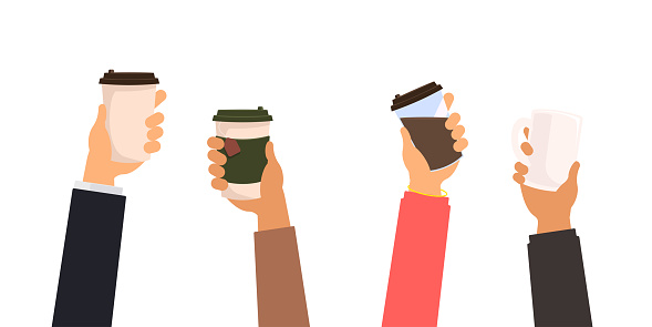 Many hands holding coffee and tea cups, group of people with take away mugs and office cup vector isolated set illustration