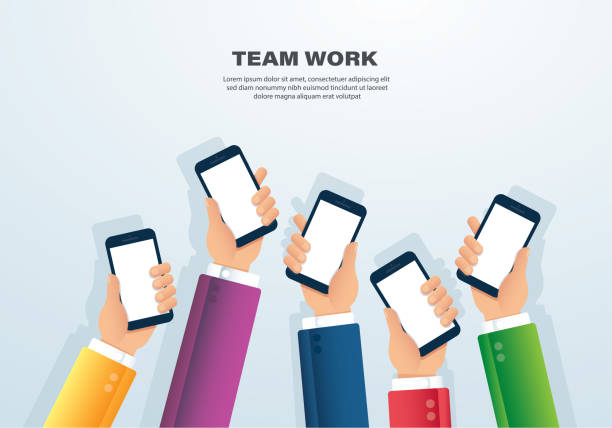 many hands holding smartphone vector illustration eps10 - duża grupa obiektów stock illustrations