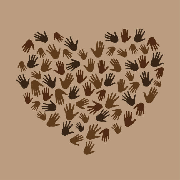 Many hands in heart shape on brown background. protest. New movement on the rise, interracial community unity. Protests against racism in America. Modern vector in flat style Many hands in hearts shape on brown background. protest. New movement on the rise, interracial community unity. Protests against racism in America. Modern vector in flat style police meeting stock illustrations