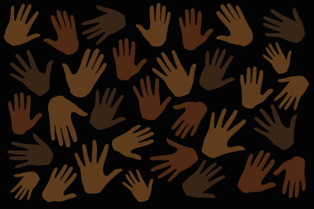 Many hands on dark background, stop racism. protest. Interracial community unity. Protests against racism in America. Modern vector in flat style. New movement on the rise Many hands on dark background, stop racism. protest. Interracial community unity. Protests against racism in America. Modern vector in flat style. New movement on the rise police meeting stock illustrations