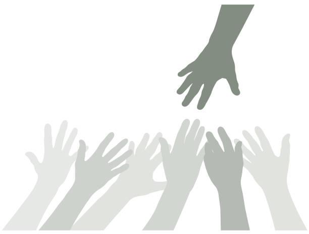 Many hands reaching illustration vector art illustration