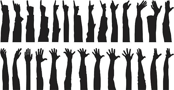 Many Hands vector art illustration