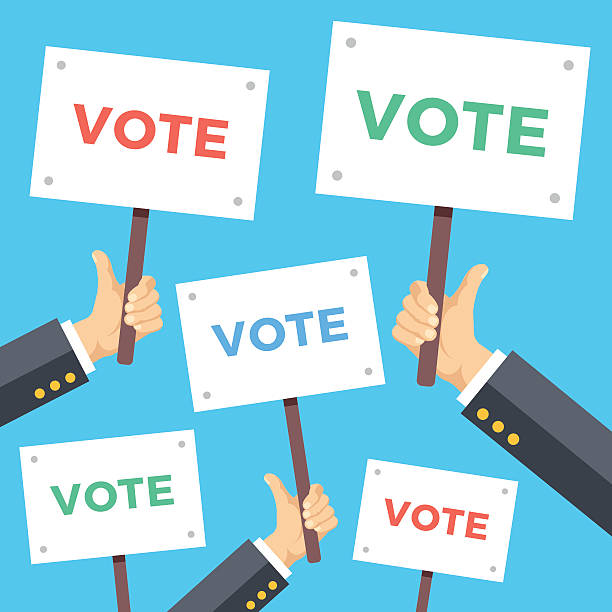 Many hands with vote placards. Political campaign, elections. Flat illustration Many hands with vote placards. Political campaign, elections concept. Modern flat design vector illustration presidential candidate stock illustrations