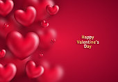 Pink Valentine's Day background with 3d hearts on red. Vector illustration. Cute love banner or greeting card. Place for your text