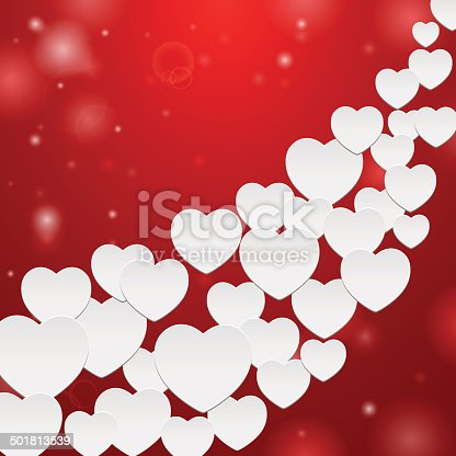 Many white hearts on red background