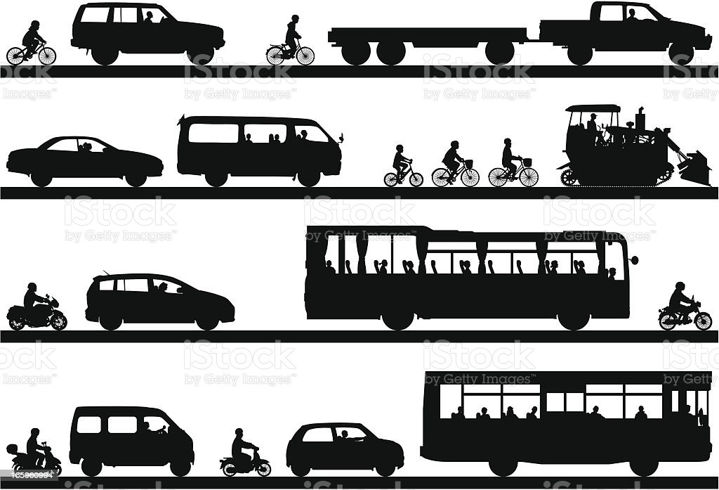 Many Highly Detailed Vehicles royalty-free stock vector art