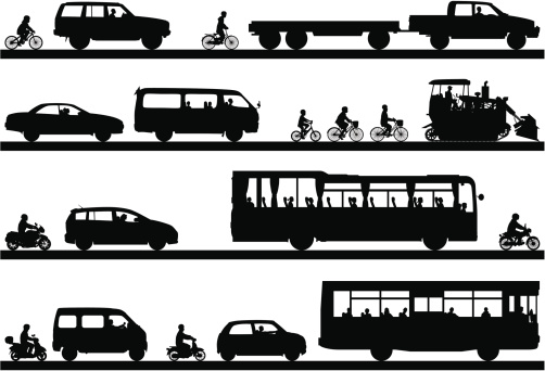 Vehicles and transportation silhouette stock illustrations