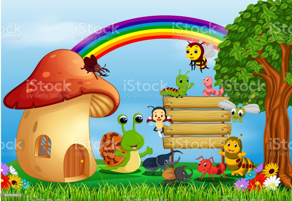 many insect and a mushroom house in forest vector art illustration