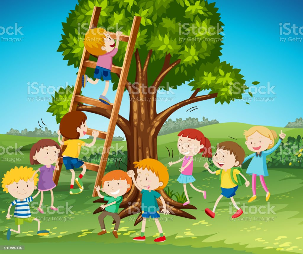 Many kids climbing up ladder in park vector art illustration