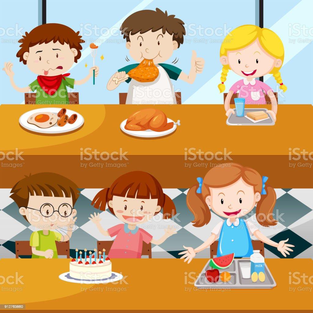 Viele Kinder Essen In Der Kantine Stock Vektor Art Und Mehr Bilder