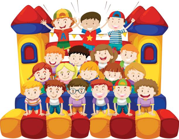 Many kids sitting on bounching house vector art illustration