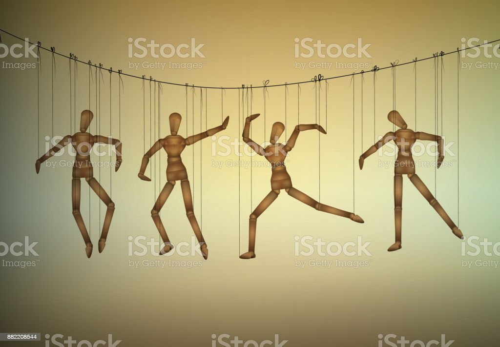 many marionette in different positions hanging on the threats, manipulate the people concept, vector art illustration