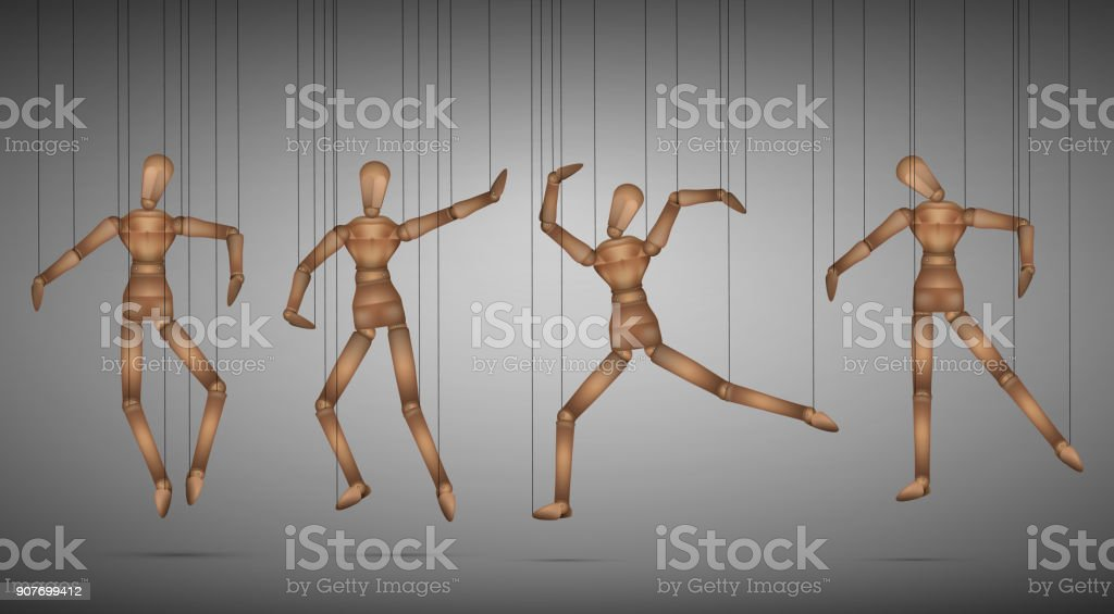 many marionette in different positions vector art illustration