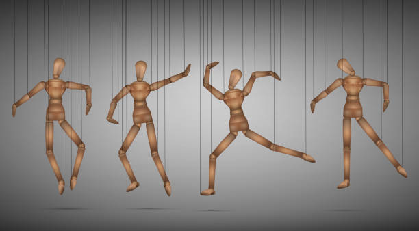 many marionette in different positions - marionetka stock illustrations