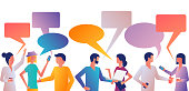 Discuss people. Many men and women with gadgets talk at meeting. Businesspeople corporate meeting. Discussion of news and trends. Vector flat. Dialogue speech bubbles. Template design for speech.